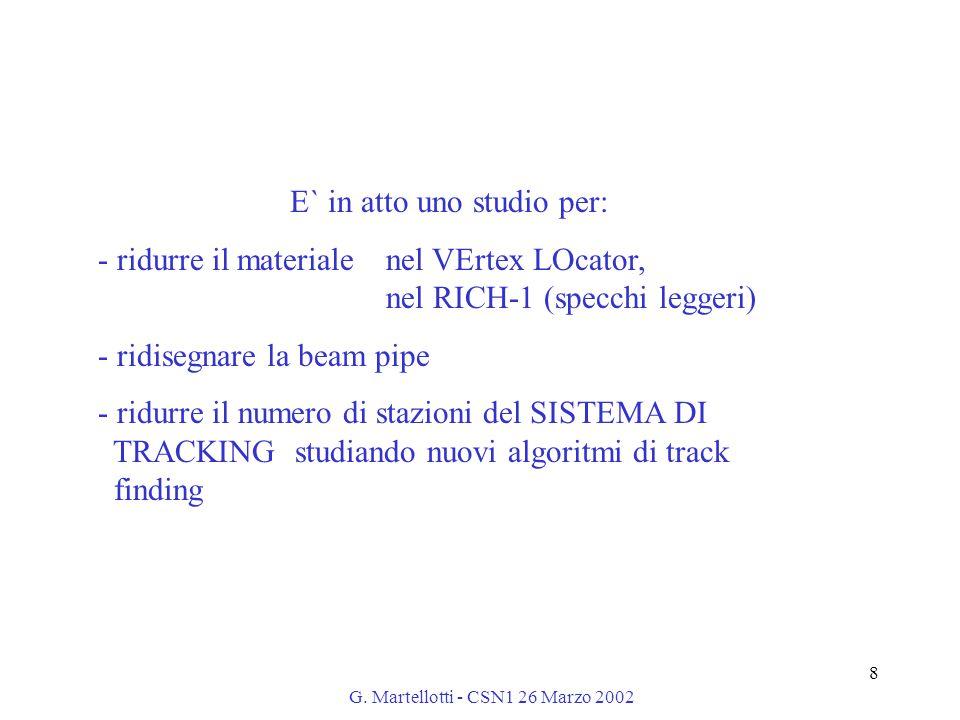 G. Martellotti - CSN1 26 Marzo 2002 8 E` in atto uno studio per: - ridurre il materiale nel VErtex LOcator, nel RICH-1 (specchi leggeri) - ridisegnare