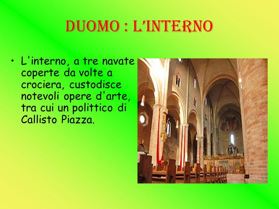 CRIPTA La parte più antica dell edificio è la cripta, in cui sono conservate le spoglie del patrono San Bassiano; nell absidiola di sinistra, inoltre, si trova un gruppo scultoreo del Quattrocento raffigurante un Compianto sul Cristo Morto.