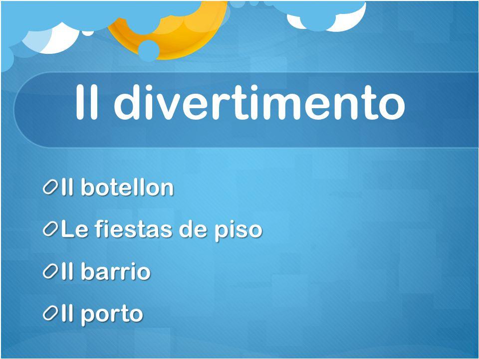 Il divertimento Il botellon Le fiestas de piso Il barrio Il porto