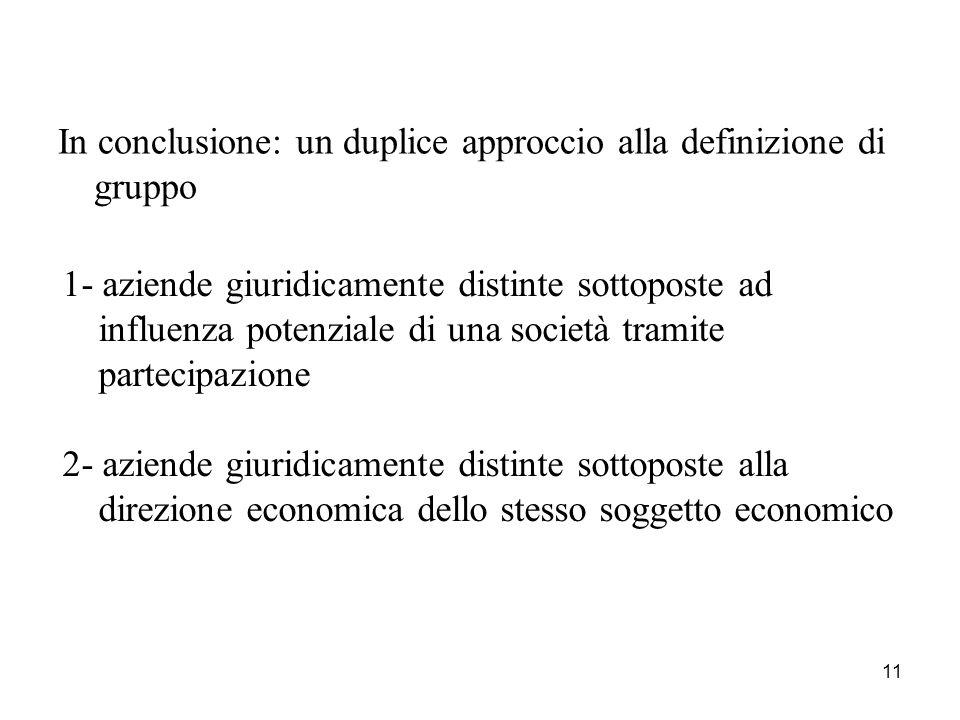 11 In conclusione: un duplice approccio alla definizione di gruppo 1- aziende giuridicamente distinte sottoposte ad influenza potenziale di una societ
