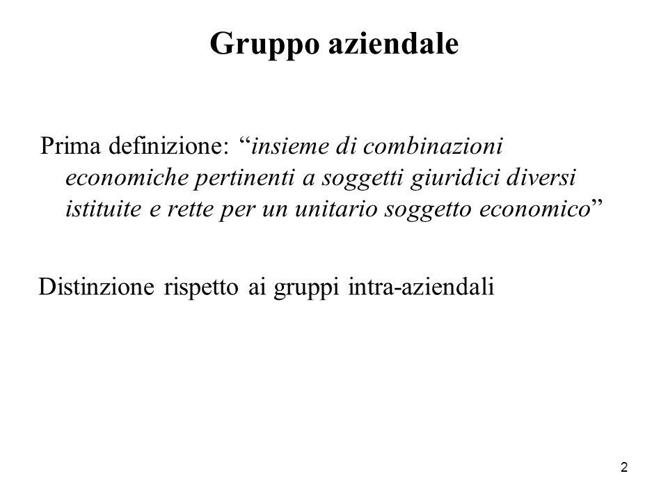 """2 Prima definizione: """"insieme di combinazioni economiche pertinenti a soggetti giuridici diversi istituite e rette per un unitario soggetto economico"""""""