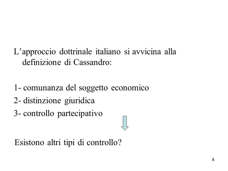 4 L'approccio dottrinale italiano si avvicina alla definizione di Cassandro: 1- comunanza del soggetto economico 2- distinzione giuridica 3- controllo