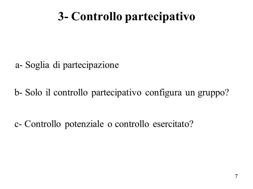 7 3- Controllo partecipativo a- Soglia di partecipazione b- Solo il controllo partecipativo configura un gruppo? c- Controllo potenziale o controllo e
