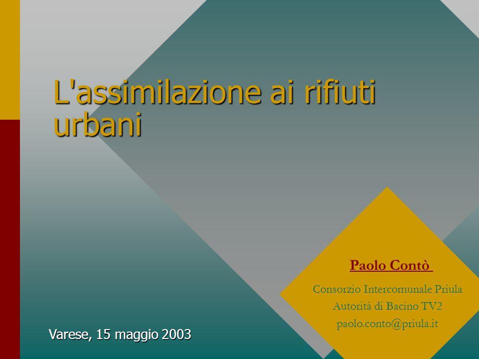 Varese, 15 maggio 2003 L assimilazione ai rifiuti urbani Paolo Contò Consorzio Intercomunale Priula Autorità di Bacino TV2 paolo.conto@priula.it
