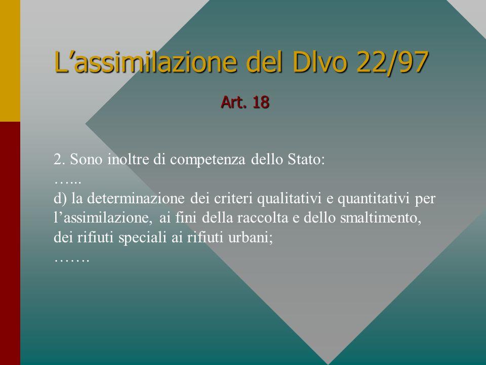 L'assimilazione del Dlvo 22/97 Art. 18 2. Sono inoltre di competenza dello Stato: …...