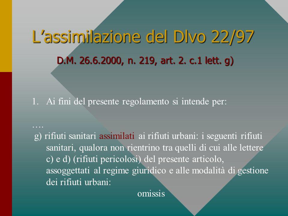 L'assimilazione del Dlvo 22/97 D.M. 26.6.2000, n.