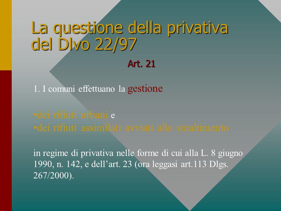 La questione della privativa del Dlvo 22/97 Art. 21 1.