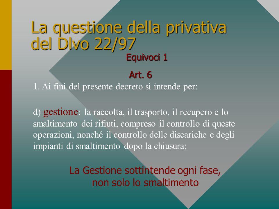 La questione della privativa del Dlvo 22/97 Art. 6 1.