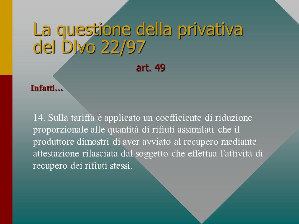 La questione della privativa del Dlvo 22/97 art. 49 14.