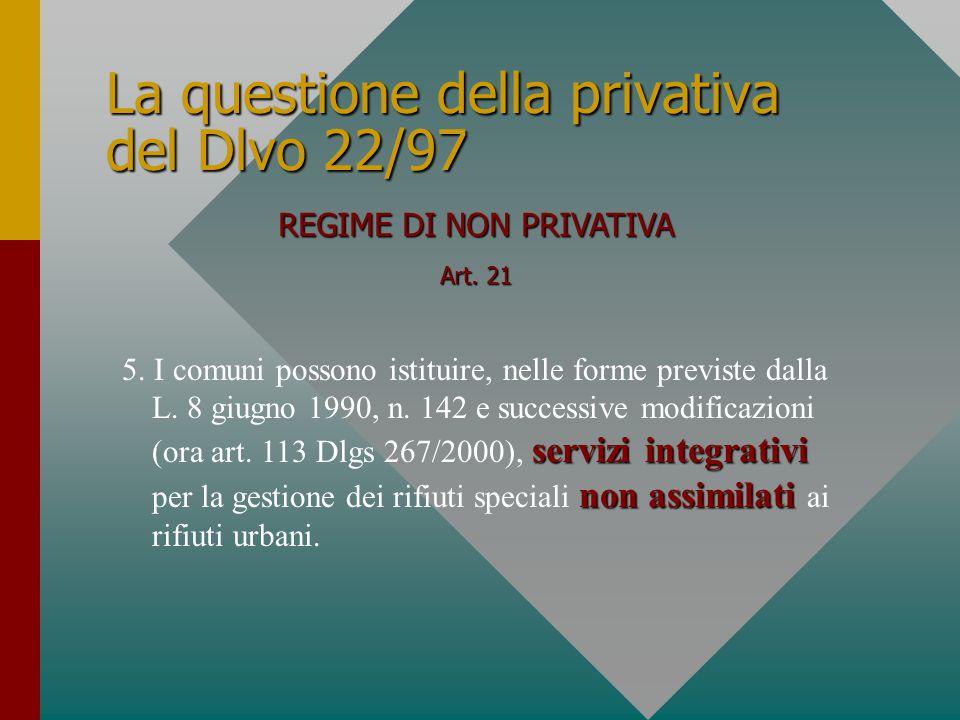 La questione della privativa del Dlvo 22/97 REGIME DI NON PRIVATIVA Art. 21 servizi integrativi nonassimilati 5. I comuni possono istituire, nelle for