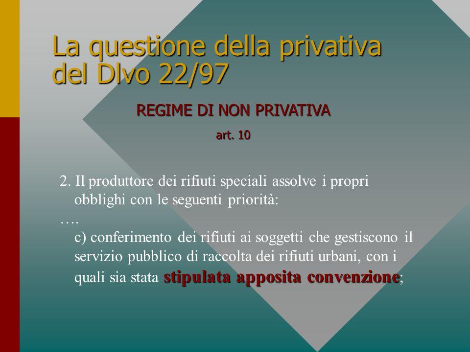 La questione della privativa del Dlvo 22/97 REGIME DI NON PRIVATIVA art. 10 2. Il produttore dei rifiuti speciali assolve i propri obblighi con le seg