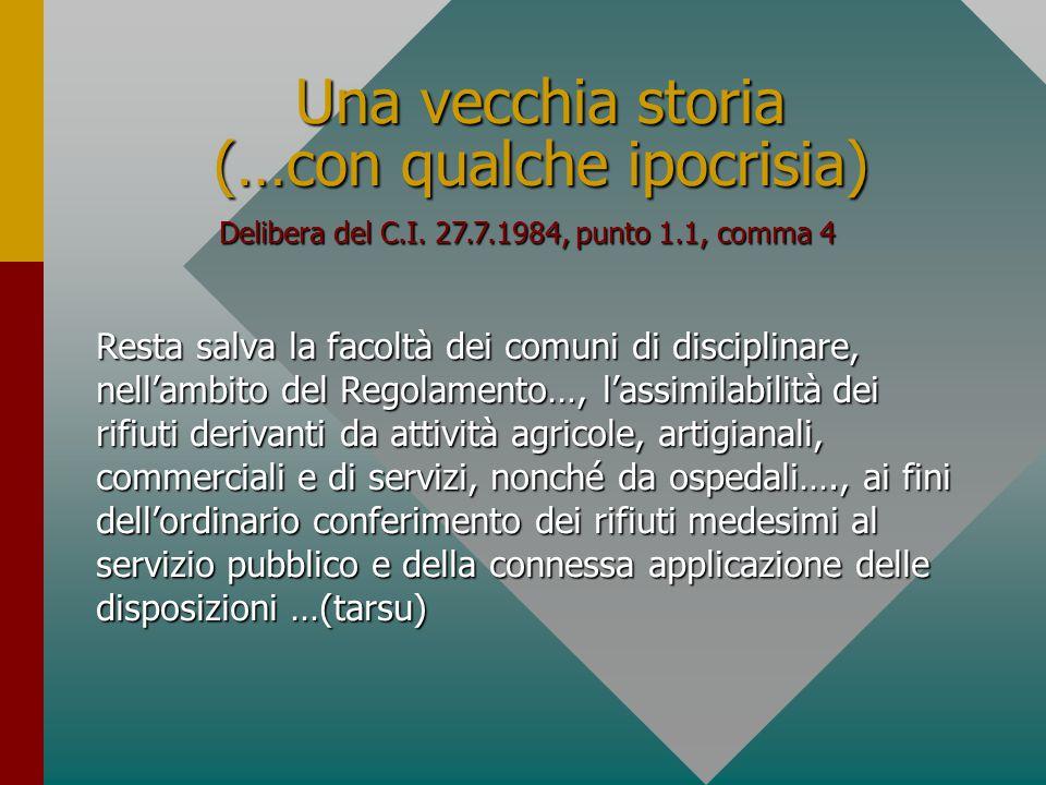 Elenco dei rifiuti smaltibili in discariche di 1^ categoria e, quindi, potenzialmente assimilabili agli urbani Delibera del C.I.