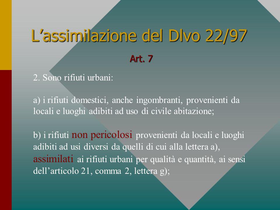 L'assimilazione del Dlvo 22/97 Art.21 con appositi regolamenti 2.