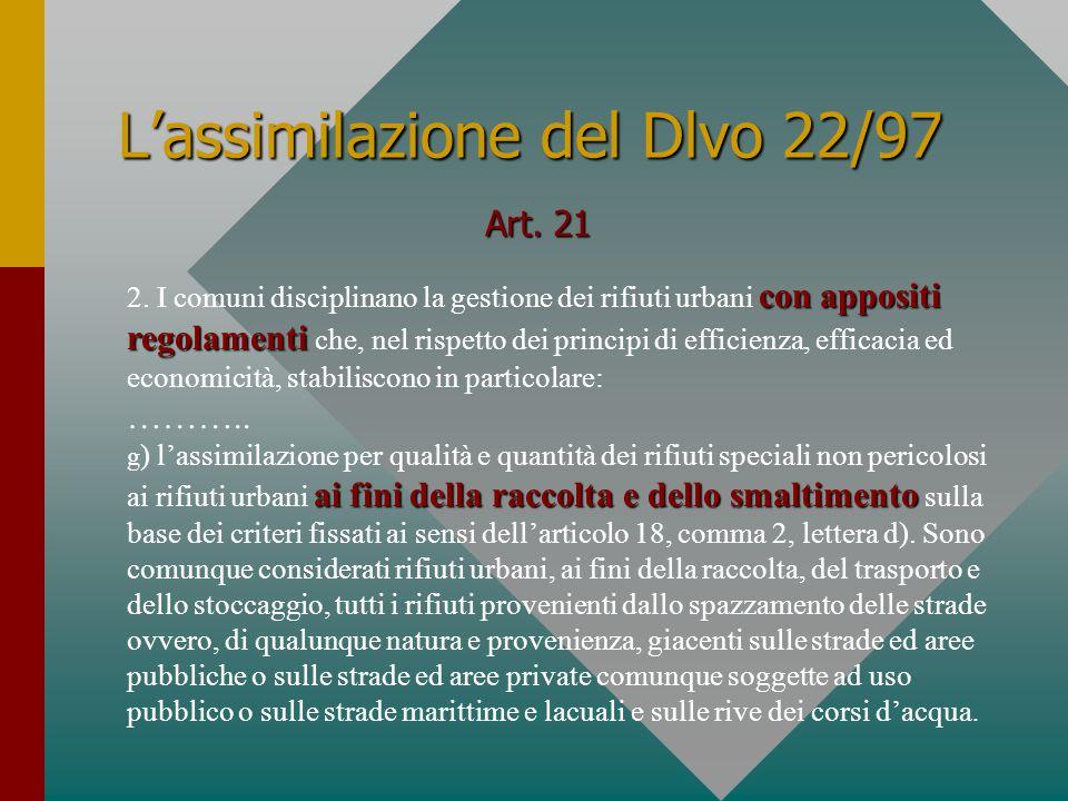 L'assimilazione del Dlvo 22/97 Art. 21 con appositi regolamenti 2.