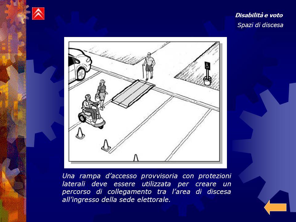 Disabilità e voto Spazi di discesa Una rampa d'accesso provvisoria con protezioni laterali deve essere utilizzata per creare un percorso di collegamento tra l'area di discesa all'ingresso della sede elettorale.
