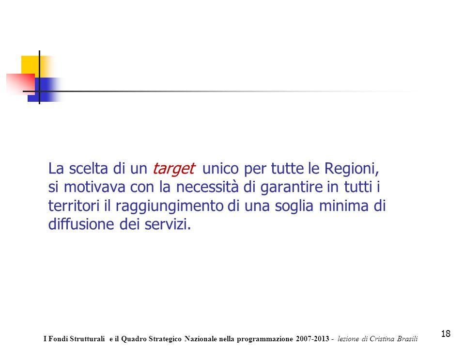 18 La scelta di un target unico per tutte le Regioni, si motivava con la necessità di garantire in tutti i territori il raggiungimento di una soglia minima di diffusione dei servizi.
