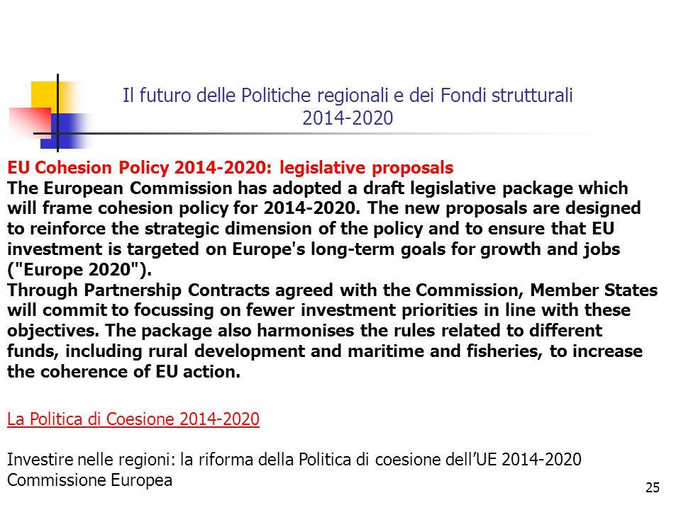25 Il futuro delle Politiche regionali e dei Fondi strutturali 2014-2020 La Politica di Coesione 2014-2020 Investire nelle regioni: la riforma della Politica di coesione dell'UE 2014-2020 Commissione Europea EU Cohesion Policy 2014-2020: legislative proposals The European Commission has adopted a draft legislative package which will frame cohesion policy for 2014-2020.