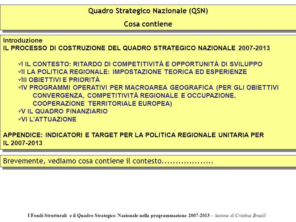 Quadro Strategico Nazionale (QSN) Cosa contiene Quadro Strategico Nazionale (QSN) Cosa contiene Introduzione IL PROCESSO DI COSTRUZIONE DEL QUADRO STR