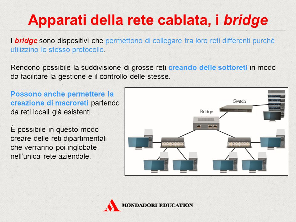 Apparati della rete cablata, i bridge I bridge sono dispositivi che permettono di collegare tra loro reti differenti purché utilizzino lo stesso protocollo.