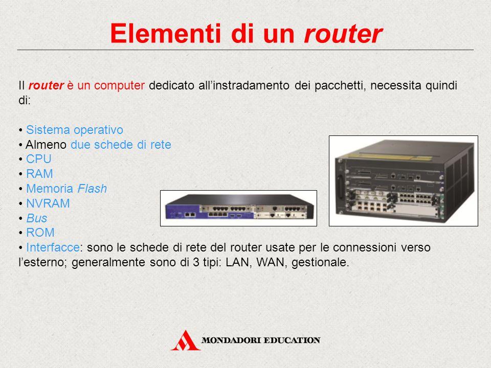 Elementi di un router Il router è un computer dedicato all'instradamento dei pacchetti, necessita quindi di: Sistema operativo Almeno due schede di rete CPU RAM Memoria Flash NVRAM Bus ROM Interfacce: sono le schede di rete del router usate per le connessioni verso l'esterno; generalmente sono di 3 tipi: LAN, WAN, gestionale.