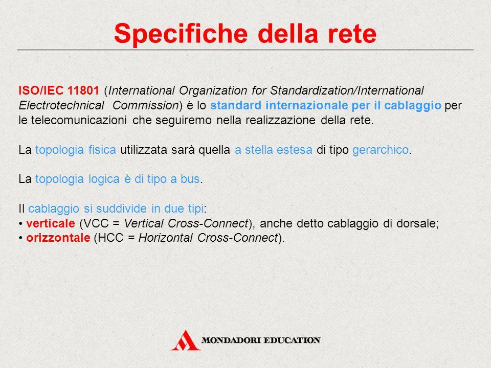 Specifiche della rete ISO/IEC 11801 (International Organization for Standardization/International Electrotechnical Commission) è lo standard internazionale per il cablaggio per le telecomunicazioni che seguiremo nella realizzazione della rete.