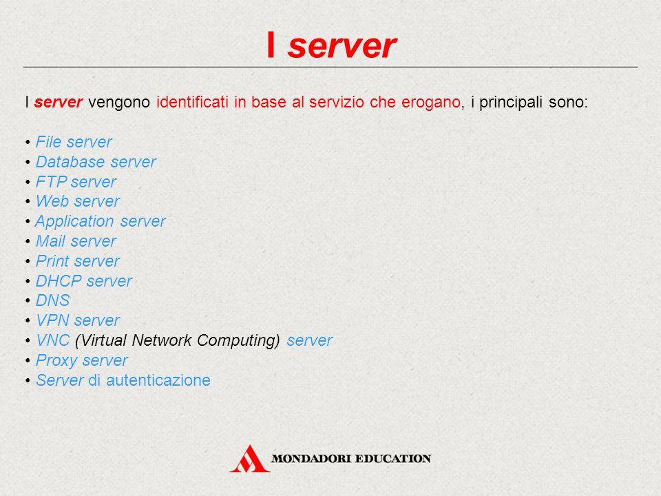 I server I server vengono identificati in base al servizio che erogano, i principali sono: File server Database server FTP server Web server Application server Mail server Print server DHCP server DNS VPN server VNC (Virtual Network Computing) server Proxy server Server di autenticazione