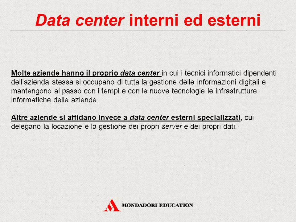 Data center interni ed esterni Molte aziende hanno il proprio data center in cui i tecnici informatici dipendenti dell'azienda stessa si occupano di tutta la gestione delle informazioni digitali e mantengono al passo con i tempi e con le nuove tecnologie le infrastrutture informatiche delle aziende.