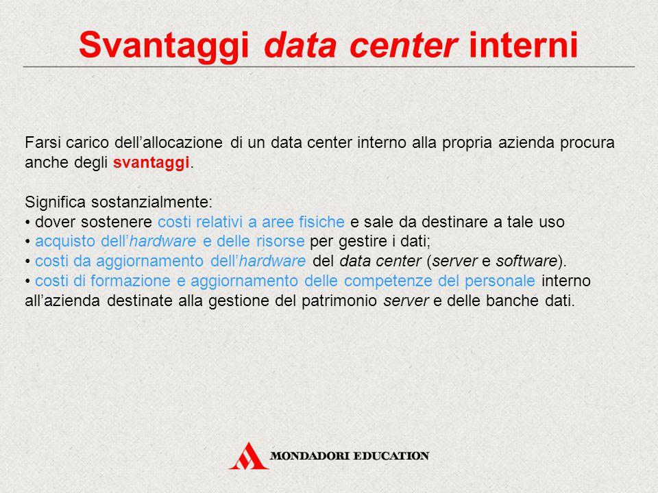 Svantaggi data center interni Farsi carico dell'allocazione di un data center interno alla propria azienda procura anche degli svantaggi. Significa so
