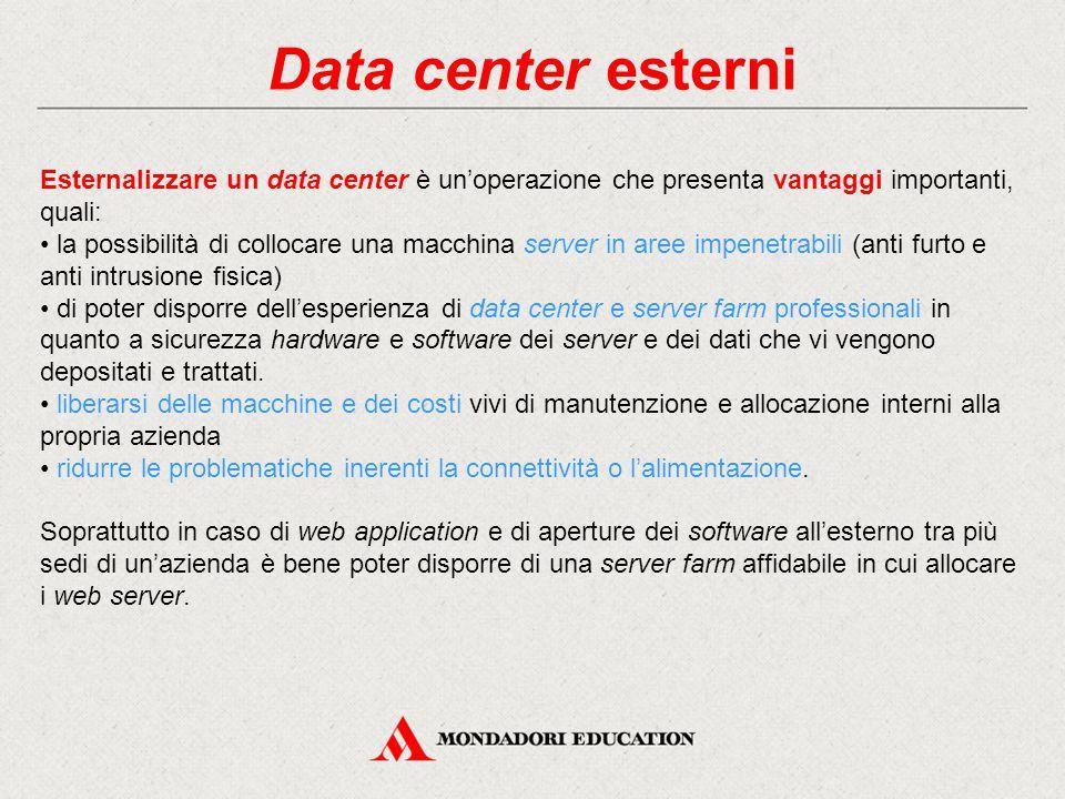 Data center esterni Esternalizzare un data center è un'operazione che presenta vantaggi importanti, quali: la possibilità di collocare una macchina se