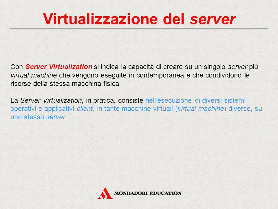 Virtualizzazione del server Con Server Virtualization si indica la capacità di creare su un singolo server più virtual machine che vengono eseguite in contemporanea e che condividono le risorse della stessa macchina fisica.