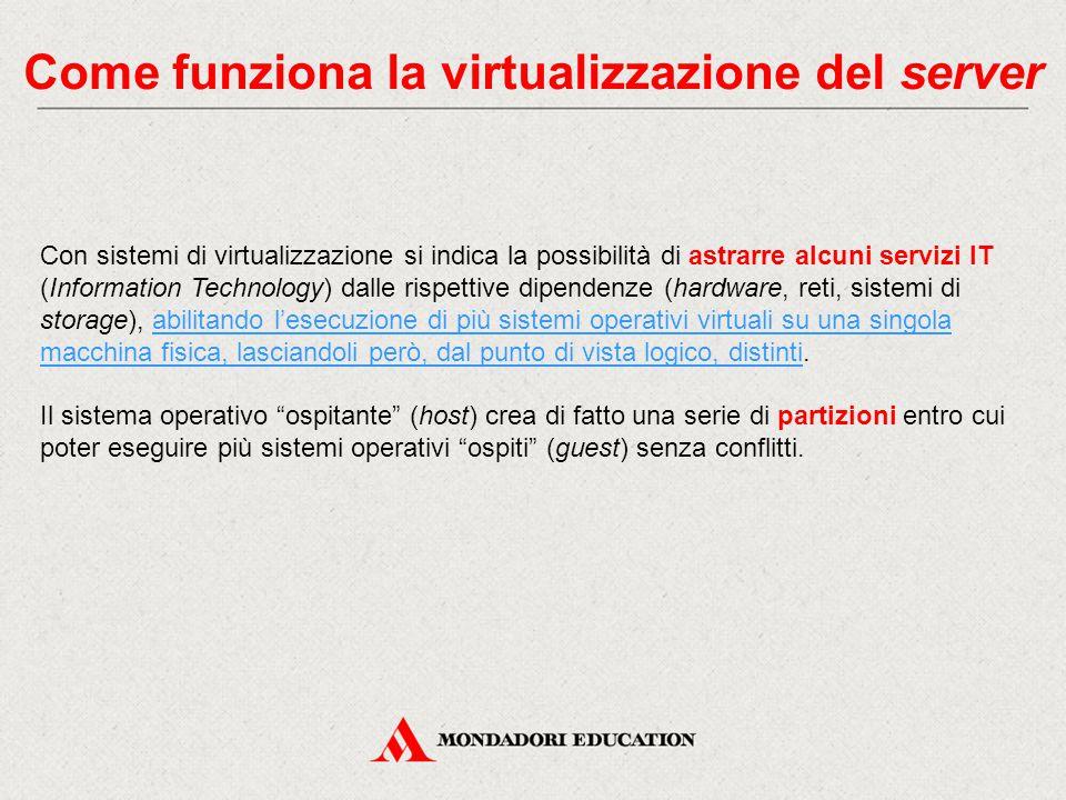 Come funziona la virtualizzazione del server Con sistemi di virtualizzazione si indica la possibilità di astrarre alcuni servizi IT (Information Techn