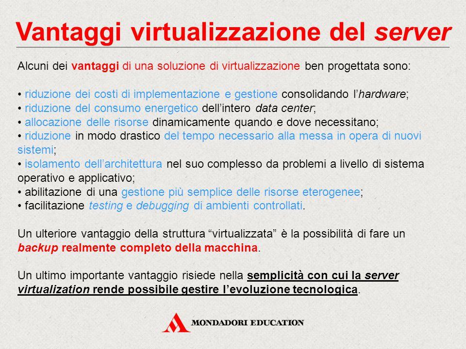 Vantaggi virtualizzazione del server Alcuni dei vantaggi di una soluzione di virtualizzazione ben progettata sono: riduzione dei costi di implementazi