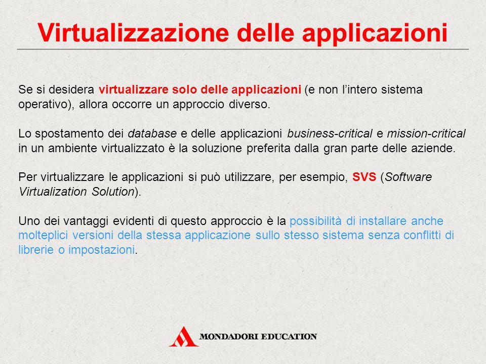 Virtualizzazione delle applicazioni Se si desidera virtualizzare solo delle applicazioni (e non l'intero sistema operativo), allora occorre un approcc