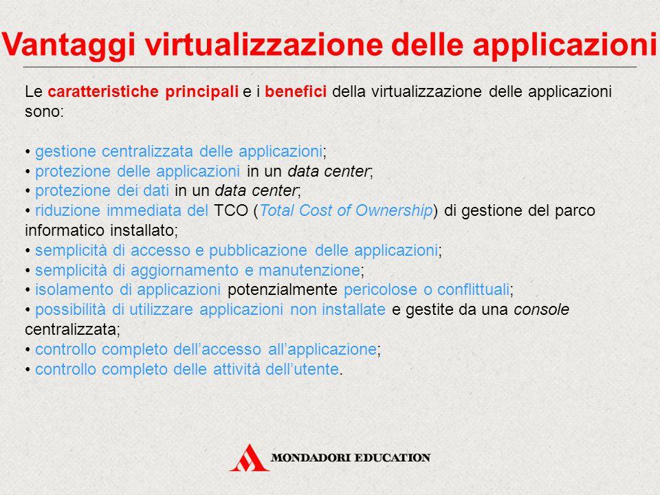 Vantaggi virtualizzazione delle applicazioni Le caratteristiche principali e i benefici della virtualizzazione delle applicazioni sono: gestione centr