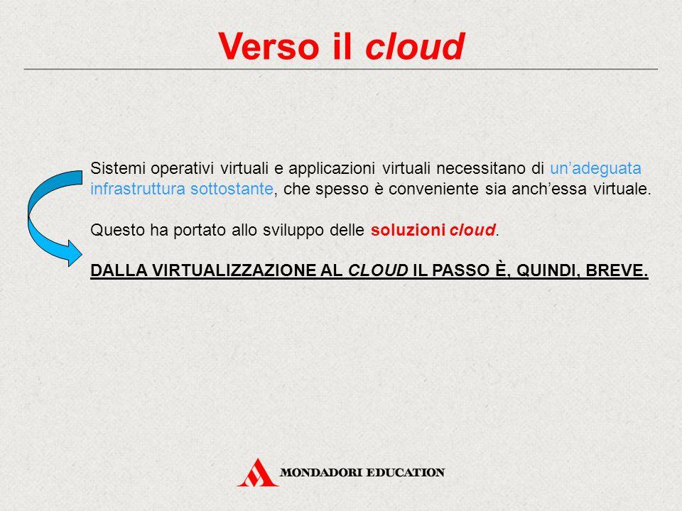 Verso il cloud Sistemi operativi virtuali e applicazioni virtuali necessitano di un'adeguata infrastruttura sottostante, che spesso è conveniente sia anch'essa virtuale.