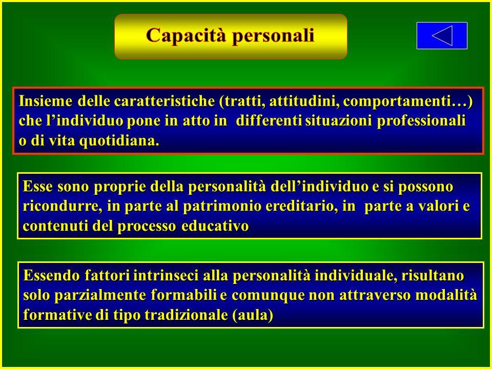 Insieme delle caratteristiche (tratti, attitudini, comportamenti…) che l'individuo pone in atto in differenti situazioni professionali o di vita quotidiana.