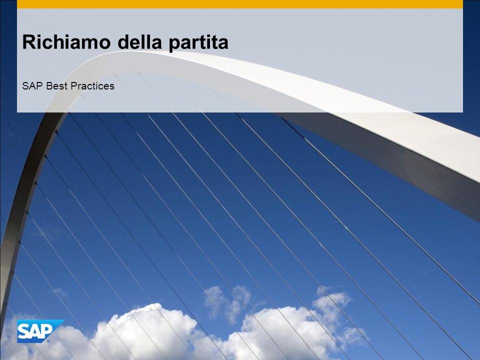 Richiamo della partita SAP Best Practices