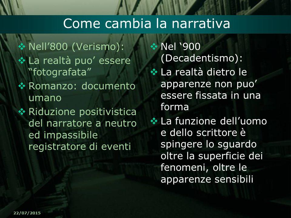 """22/07/2015 Come cambia la narrativa  Nell'800 (Verismo):  La realtà puo' essere """"fotografata""""  Romanzo: documento umano  Riduzione positivistica d"""