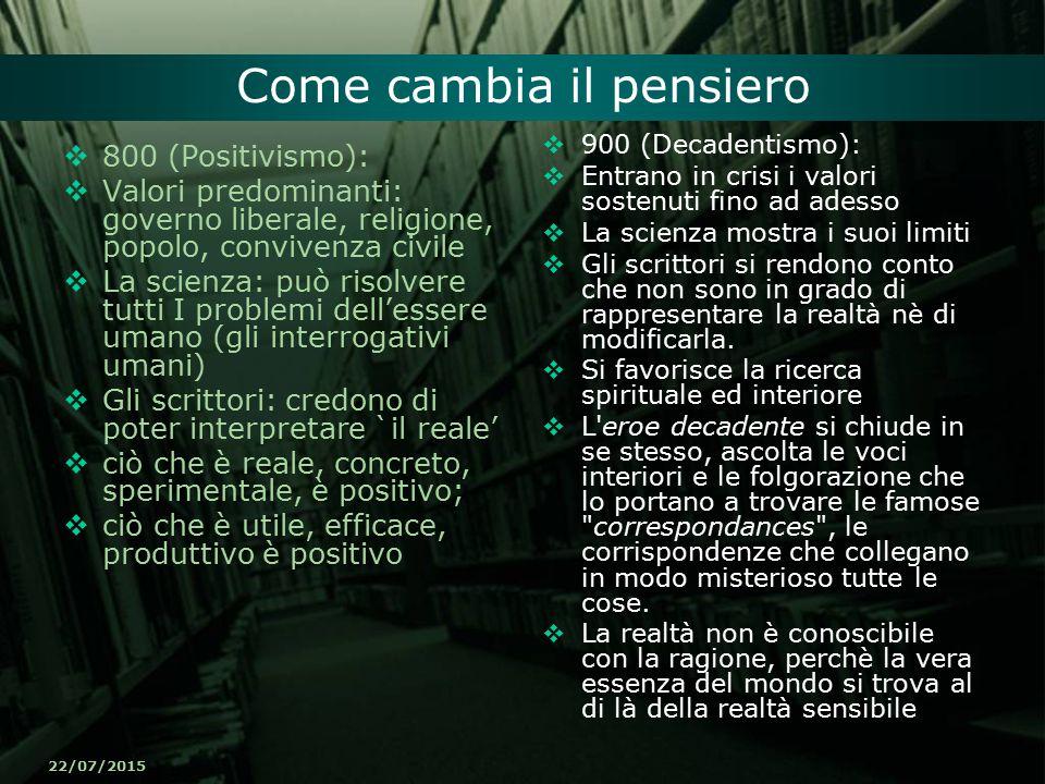 22/07/2015 Come cambia il pensiero  800 (Positivismo):  Valori predominanti: governo liberale, religione, popolo, convivenza civile  La scienza: pu