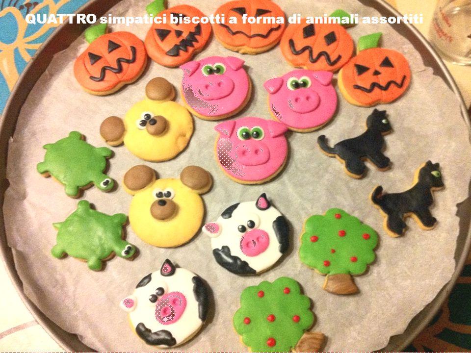 QUATTRO simpatici biscotti a forma di animali assortiti
