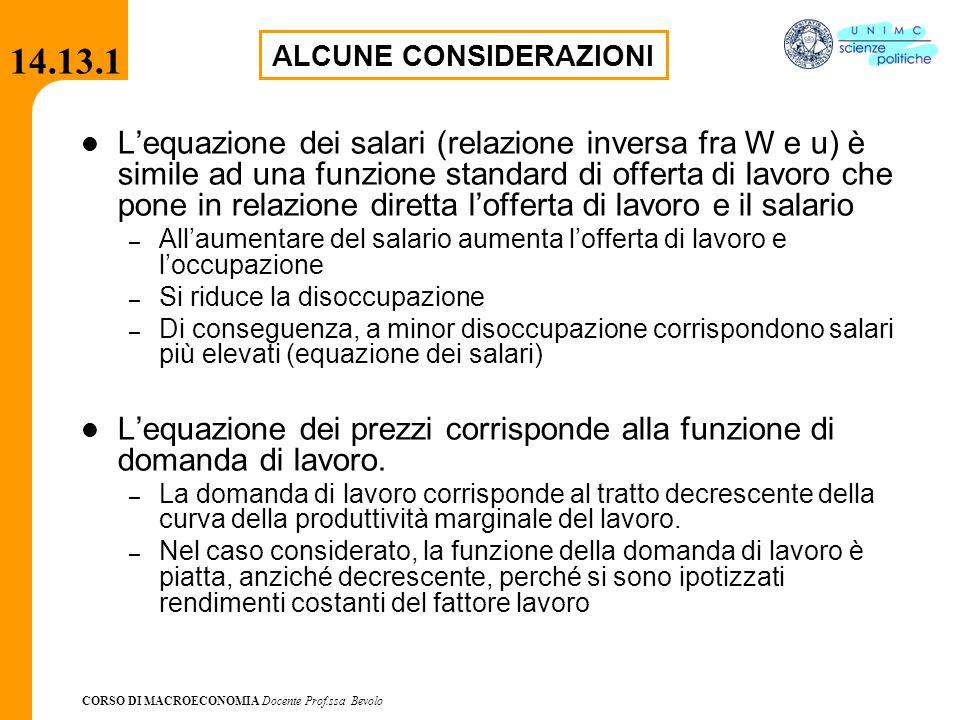 CORSO DI MACROECONOMIA Docente Prof.ssa Bevolo 14.13.1 L'equazione dei salari (relazione inversa fra W e u) è simile ad una funzione standard di offer