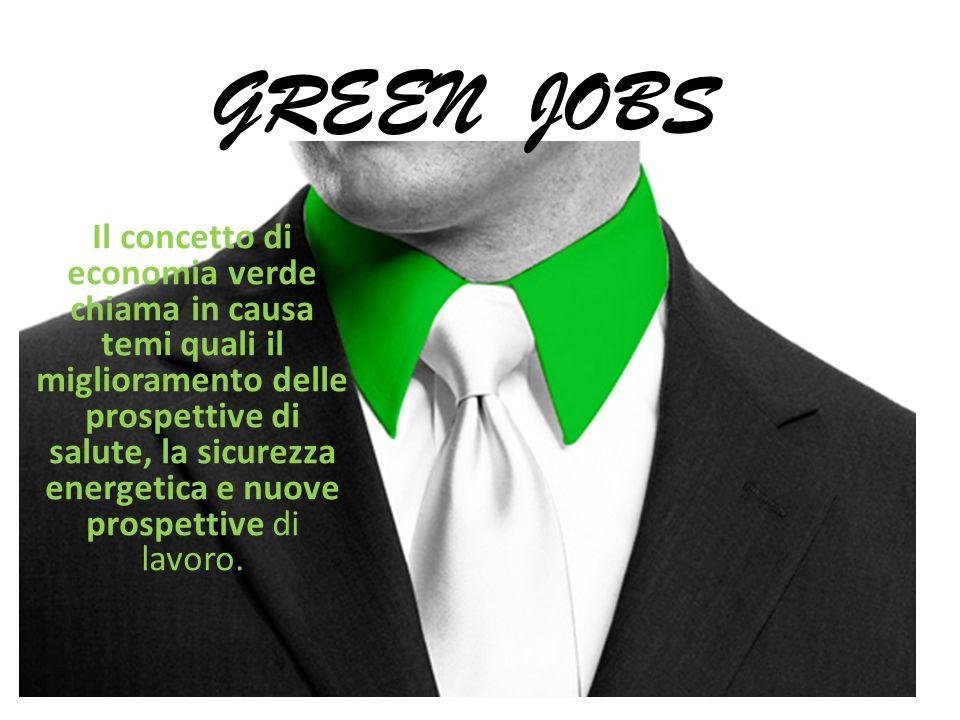 GREEN JOBS Il concetto di economia verde chiama in causa temi quali il miglioramento delle prospettive di salute, la sicurezza energetica e nuove prospettive di lavoro.
