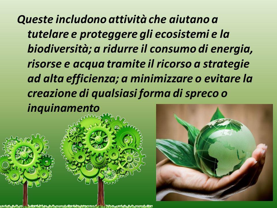 Queste includono attività che aiutano a tutelare e proteggere gli ecosistemi e la biodiversità; a ridurre il consumo di energia, risorse e acqua tramite il ricorso a strategie ad alta efficienza; a minimizzare o evitare la creazione di qualsiasi forma di spreco o inquinamento