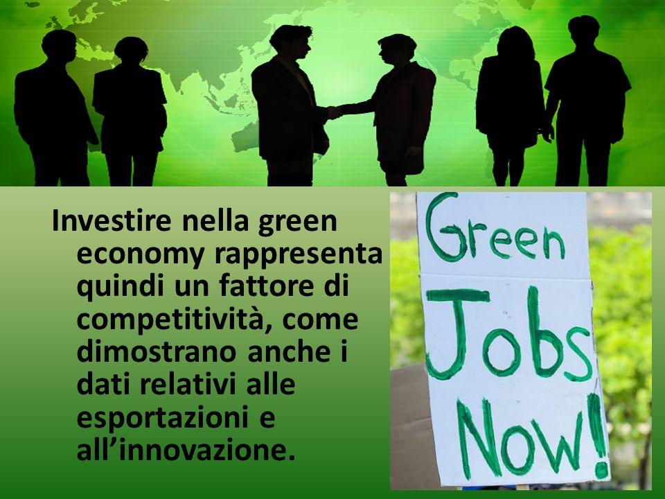 Investire nella green economy rappresenta quindi un fattore di competitività, come dimostrano anche i dati relativi alle esportazioni e all'innovazione.