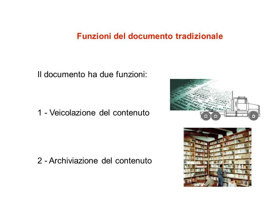 Funzioni del documento tradizionale Il documento ha due funzioni: 1 - Veicolazione del contenuto 2 - Archiviazione del contenuto