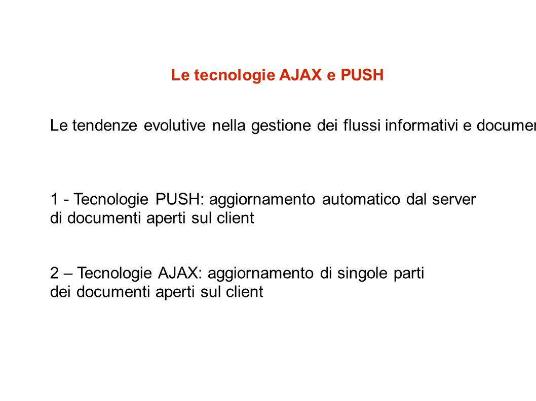 Le tecnologie AJAX e PUSH Le tendenze evolutive nella gestione dei flussi informativi e documentali 1 - Tecnologie PUSH: aggiornamento automatico dal