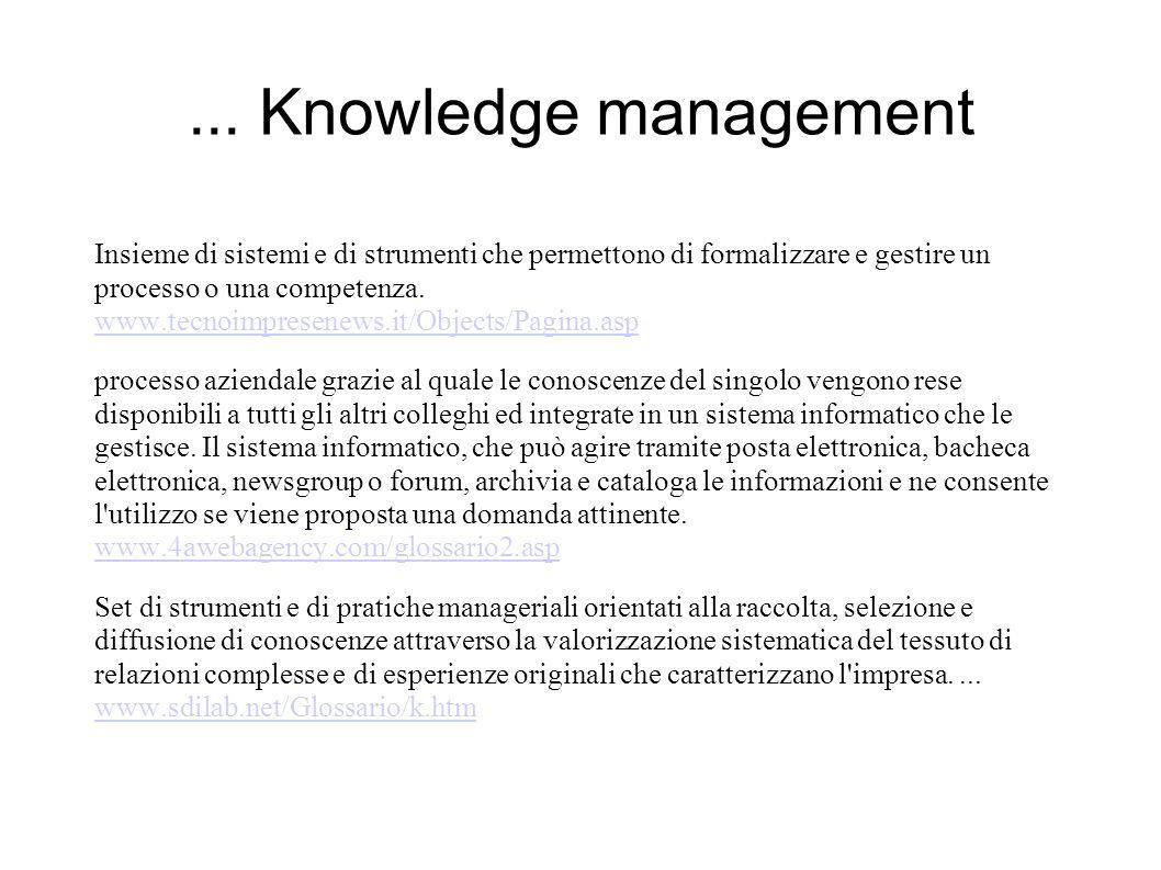 ... Knowledge management Insieme di sistemi e di strumenti che permettono di formalizzare e gestire un processo o una competenza. www.tecnoimpresenews