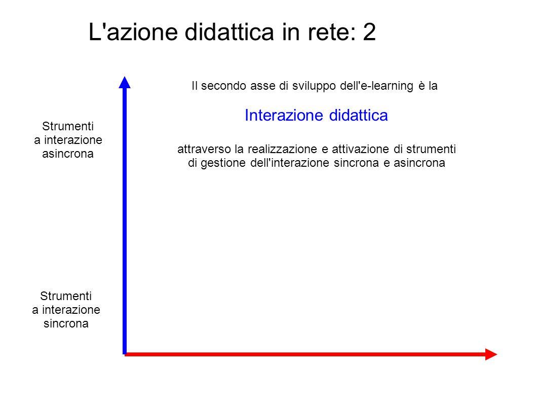 L'azione didattica in rete: 2 Il secondo asse di sviluppo dell'e-learning è la Interazione didattica attraverso la realizzazione e attivazione di stru
