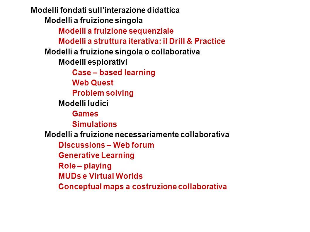 Modelli fondati sull'interazione didattica Modelli a fruizione singola Modelli a fruizione sequenziale Modelli a struttura iterativa: il Drill & Pract