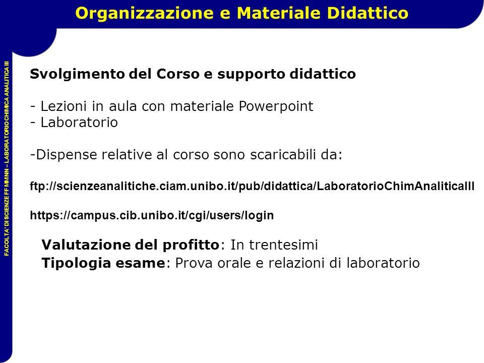 FACOLTA' DI SCIENZE FF MM NN – LABORATORIO CHIMICA ANALITICA III Organizzazione e Materiale Didattico Svolgimento del Corso e supporto didattico - Lez